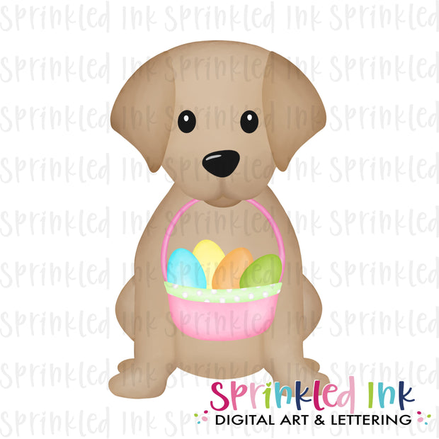 Watercolor PNG Sitting Lab Puppy with Pink Easter Basket Download File - Sprinkled Ink Digital Designs