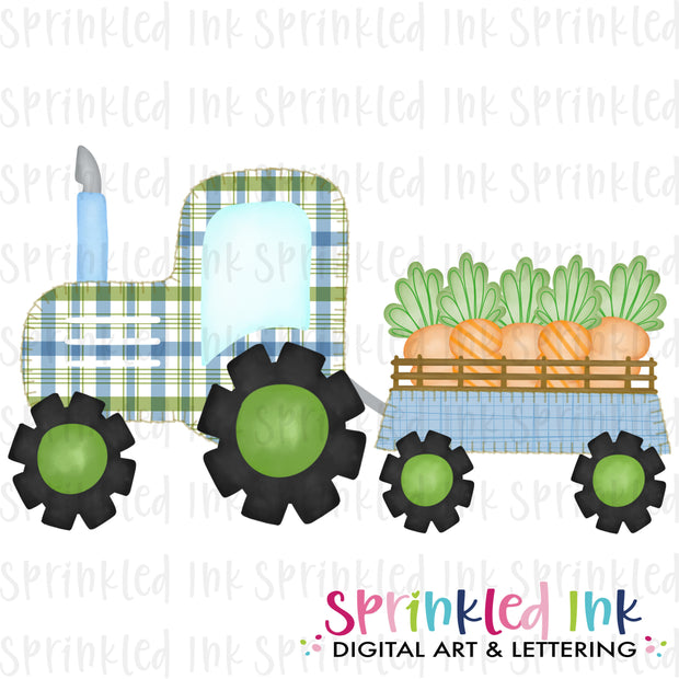 Watercolor PNG Faux Blanket Stitch Blue Tractor with Carrots Download File - Sprinkled Ink Digital Designs