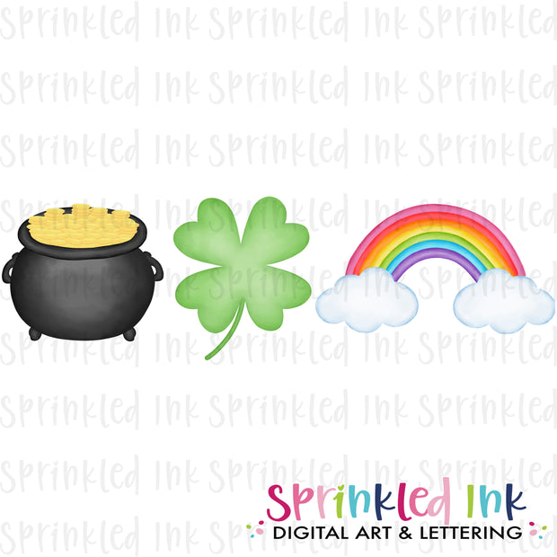 Watercolor PNG Pot of Gold Trio Download File - Sprinkled Ink Digital Designs