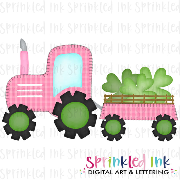 Watercolor PNG Faux Blanket Stitch Pink Tractor with Clovers Download File - Sprinkled Ink Digital Designs