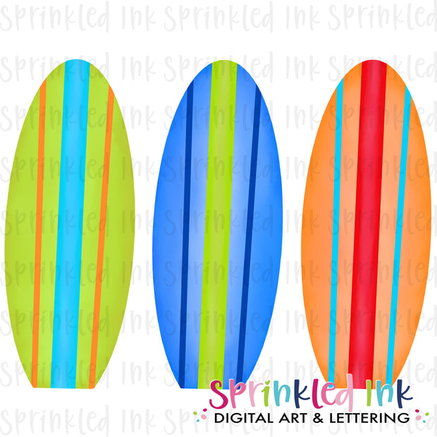 Watercolor PNG Boys Surfboard Trio Download File - Sprinkled Ink Digital Designs