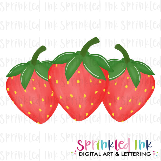 Watercolor PNG Strawberry Trio Download File - Sprinkled Ink Digital Designs