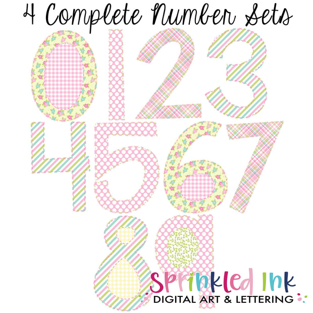 Watercolor PNG Spring Floral Faux Applique Number Set Digital Download File - Sprinkled Ink Digital Designs