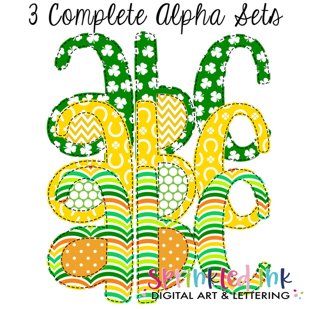 Watercolor PNG St. Patricks Day Shamrock Faux Applique Alpha Set Digital Download File - Sprinkled Ink Digital Designs