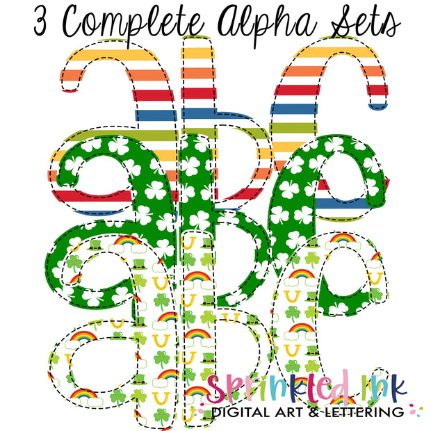 Watercolor PNG Rainbow St. Patricks Day Faux Applique Alpha Set Digital Download File - Sprinkled Ink Digital Designs