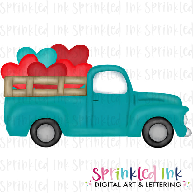 Watercolor PNG Vintage Aqua Valentine Heart Bunch Truck Download File - Sprinkled Ink Digital Designs