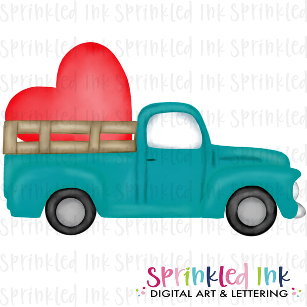 Watercolor PNG Vintage Aqua Valentine Heart Truck Download File - Sprinkled Ink Digital Designs