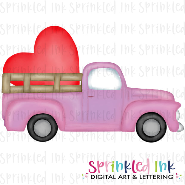 Watercolor PNG Vintage Pink Valentine Heart Truck Download File - Sprinkled Ink Digital Designs