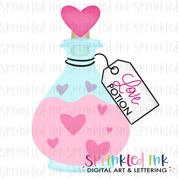 Watercolor PNG Valentine Love Potion Download File - Sprinkled Ink Digital Designs