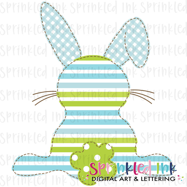 Watercolor PNG Faux Applique Boys Easter Bunny Blue and Green Download File - Sprinkled Ink Digital Designs