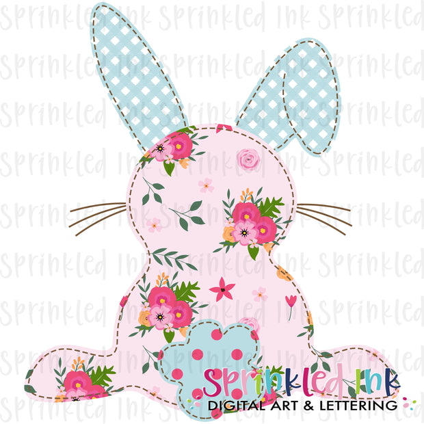 Watercolor PNG Faux Applique M2M MJ Spring Floral Easter Bunny Download File - Sprinkled Ink Digital Designs