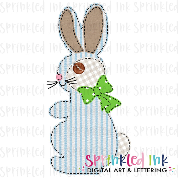 Watercolor PNG Faux Applique Boys Seersucker Bunny Download File - Sprinkled Ink Digital Designs