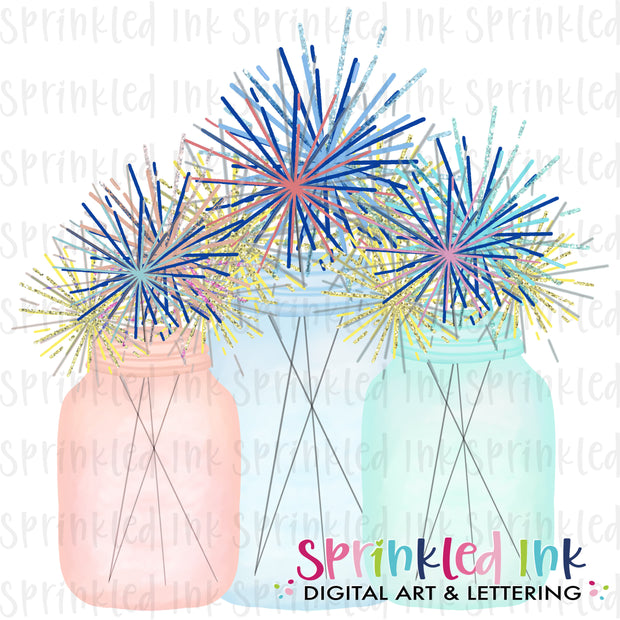 Watercolor PNG Mason Jars with Sparkles Download File - Sprinkled Ink Digital Designs