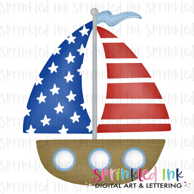Watercolor PNG Patriotic Sailboat Download File - Sprinkled Ink Digital Designs