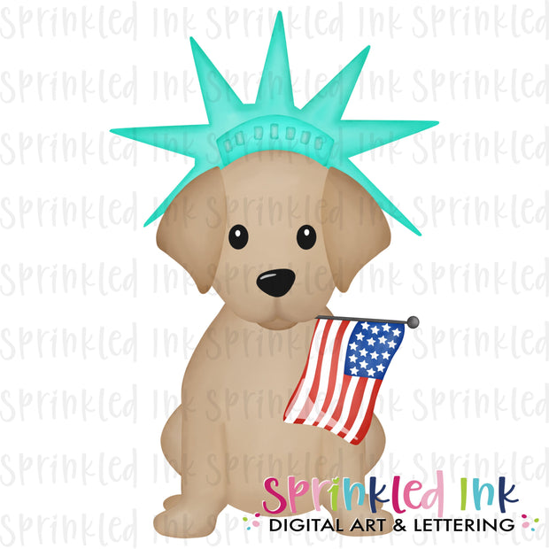 Watercolor PNG Patriotic Liberty Lab Puppy with Flag  Download File - Sprinkled Ink Digital Designs