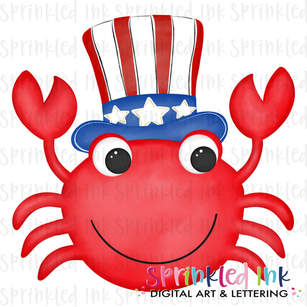 Watercolor PNG Patriotic Crab  Download File - Sprinkled Ink Digital Designs