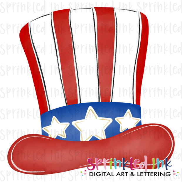 Watercolor PNG Patriotic Uncle Sam Hat  Download File - Sprinkled Ink Digital Designs
