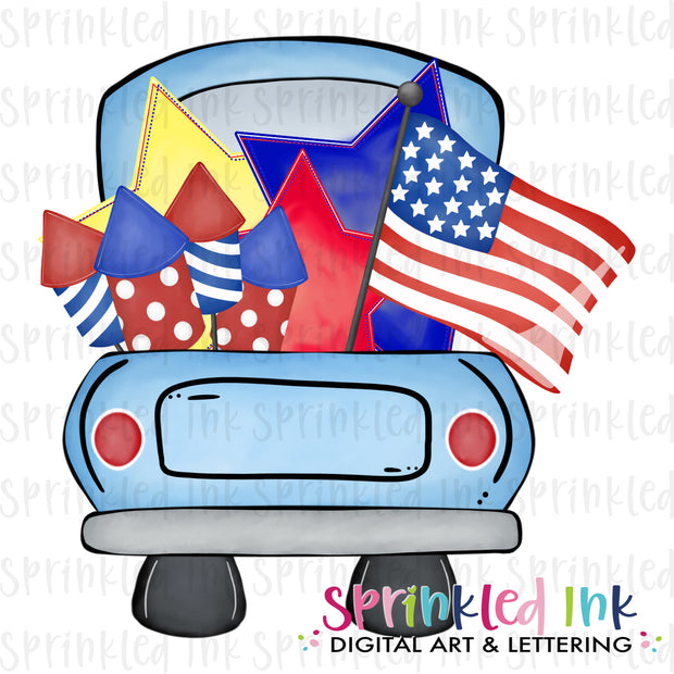 Watercolor PNG Patriotic Themed Truck Bed  Download File - Sprinkled Ink Digital Designs