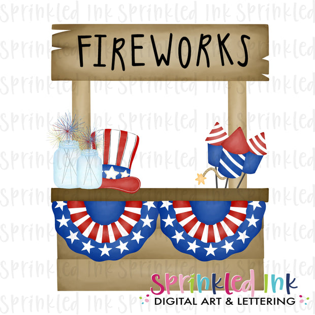 Watercolor PNG Patriotic Firework Stand Download File - Sprinkled Ink Digital Designs