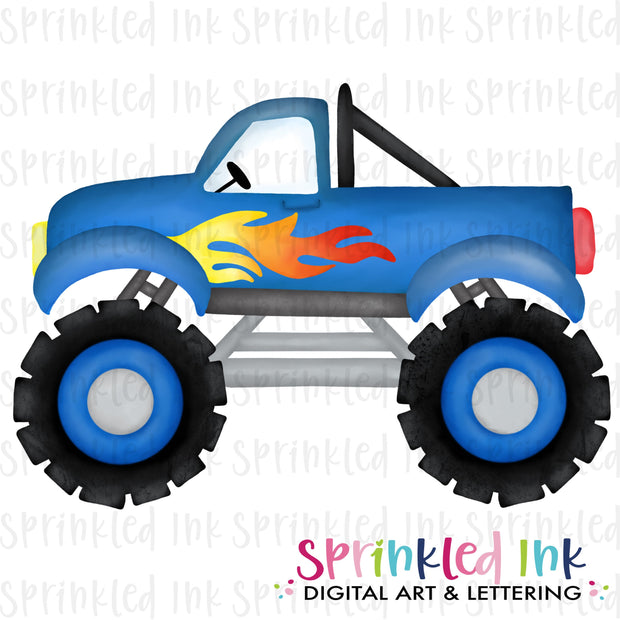 Watercolor PNG Blue Monster Truck Download File - Sprinkled Ink Digital Designs