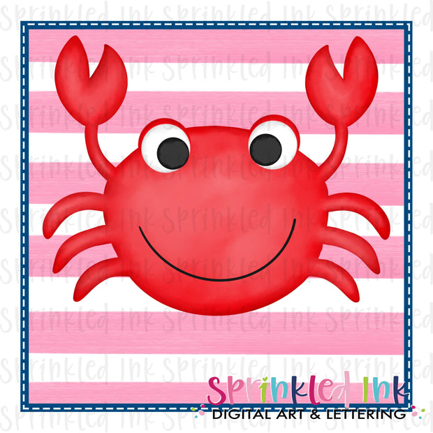 Watercolor PNG Happy Crab with Pink Stripe Background Download File - Sprinkled Ink Digital Designs