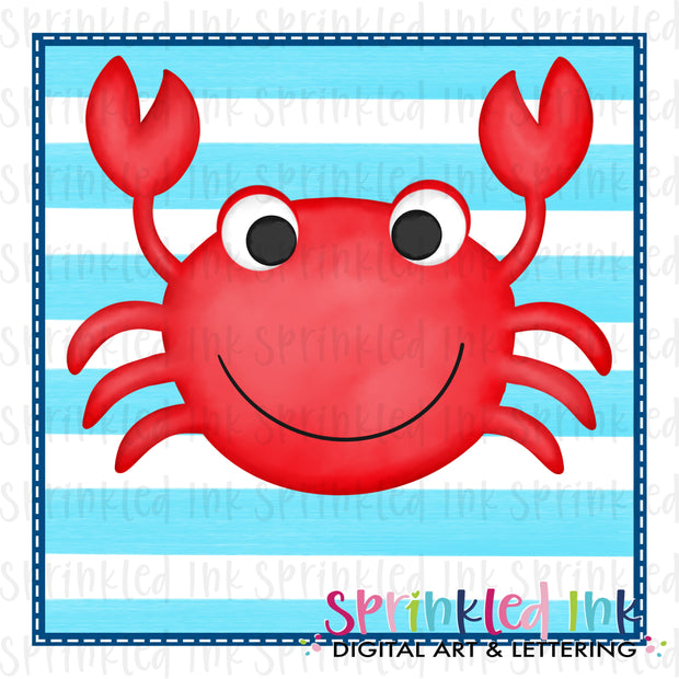 Watercolor PNG Happy Crab with Aqua Stripe Background Download File - Sprinkled Ink Digital Designs