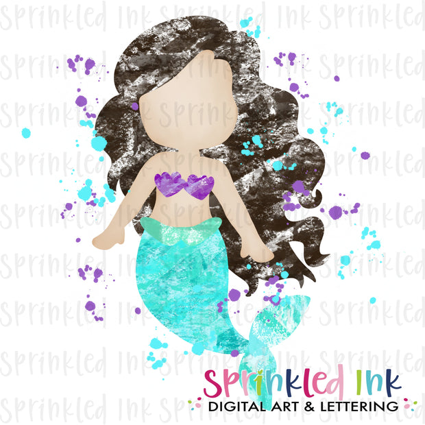 Watercolor PNG Blotted Mermaid Black Hair Download File - Sprinkled Ink Digital Designs