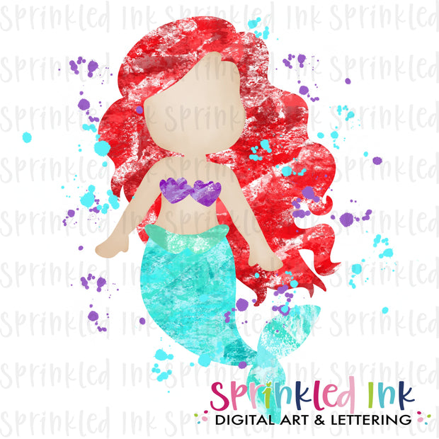 Watercolor PNG Blotted Mermaid Red Hair Download File - Sprinkled Ink Digital Designs