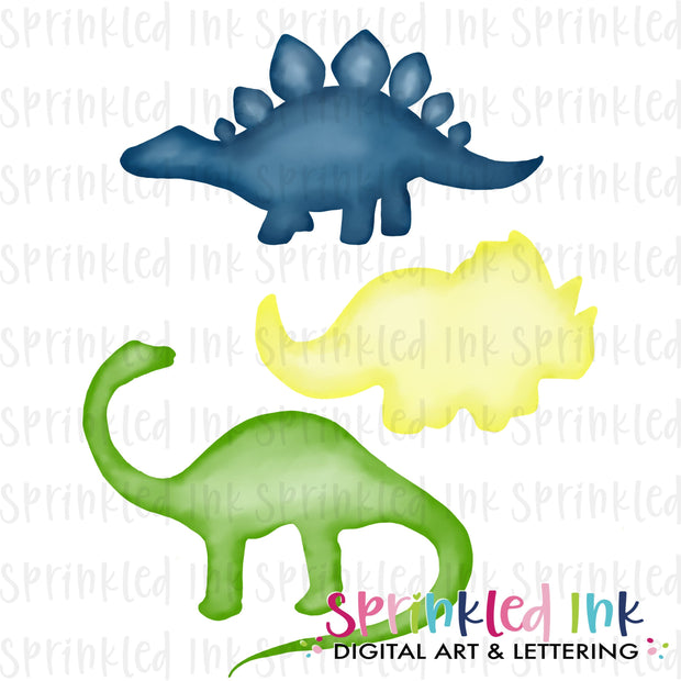 Watercolor PNG Boys Dinosaur Silhouette Trio Download File - Sprinkled Ink Digital Designs