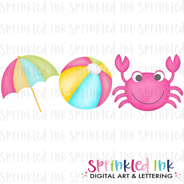 Watercolor PNG Girls Beach Trio Download File - Sprinkled Ink Digital Designs