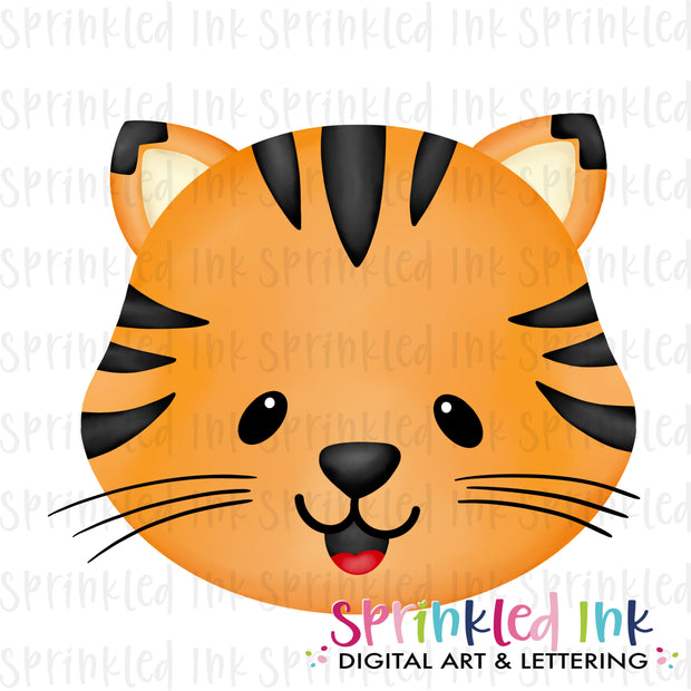 Watercolor PNG Tiger Face Download File - Sprinkled Ink Digital Designs