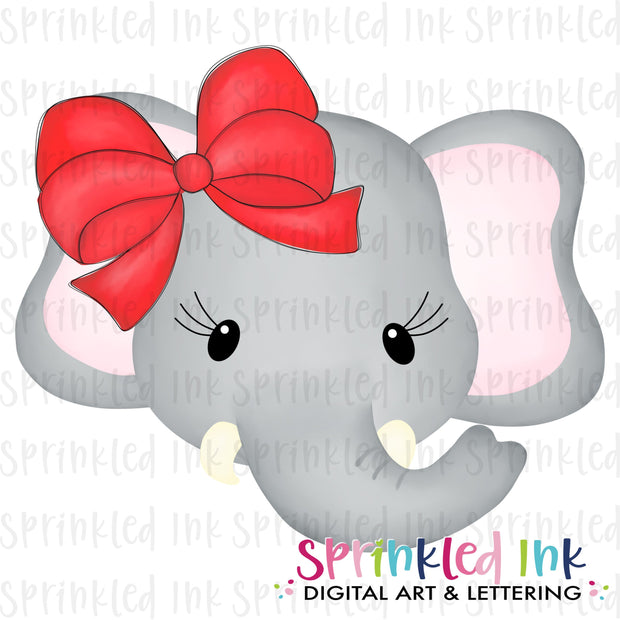 Watercolor PNG Elephant Girl Face with Big Red Bow Download File - Sprinkled Ink Digital Designs