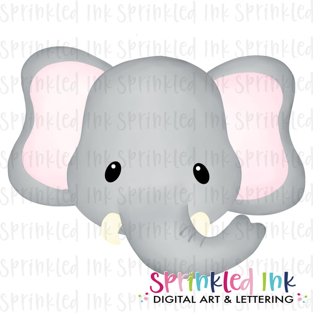 Watercolor PNG Elephant Face  Download File - Sprinkled Ink Digital Designs