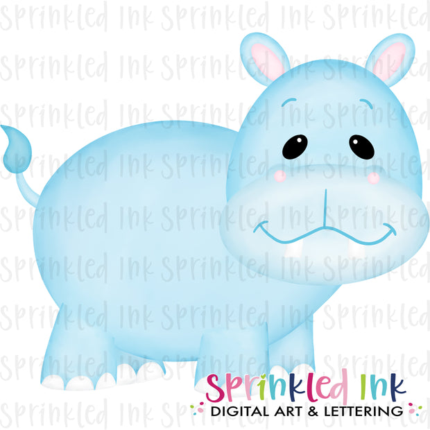 Watercolor PNG Baby Hippo Download File - Sprinkled Ink Digital Designs