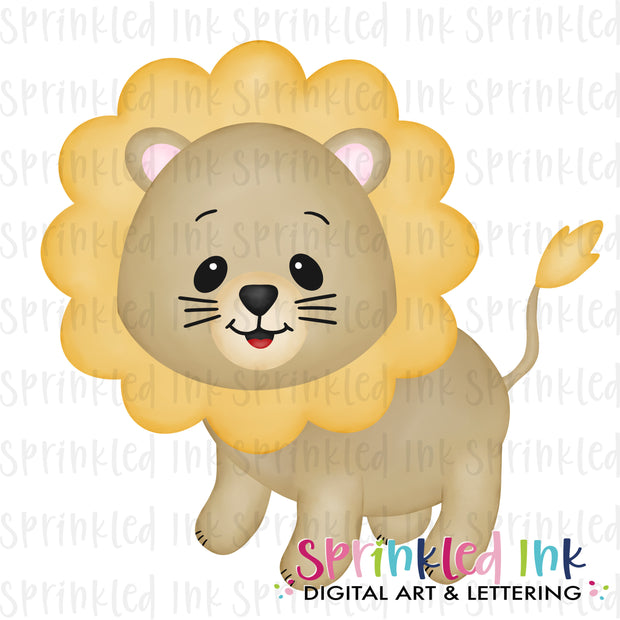 Watercolor PNG Baby Lion Download File - Sprinkled Ink Digital Designs