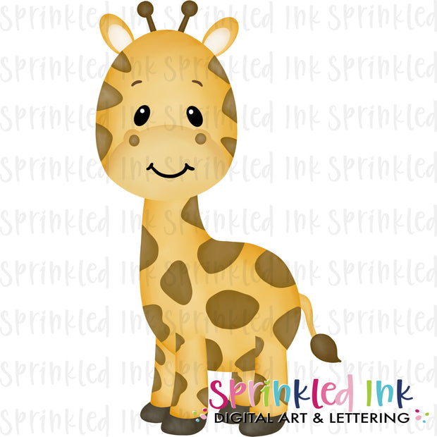 Watercolor PNG Baby Giraffe Download File - Sprinkled Ink Digital Designs