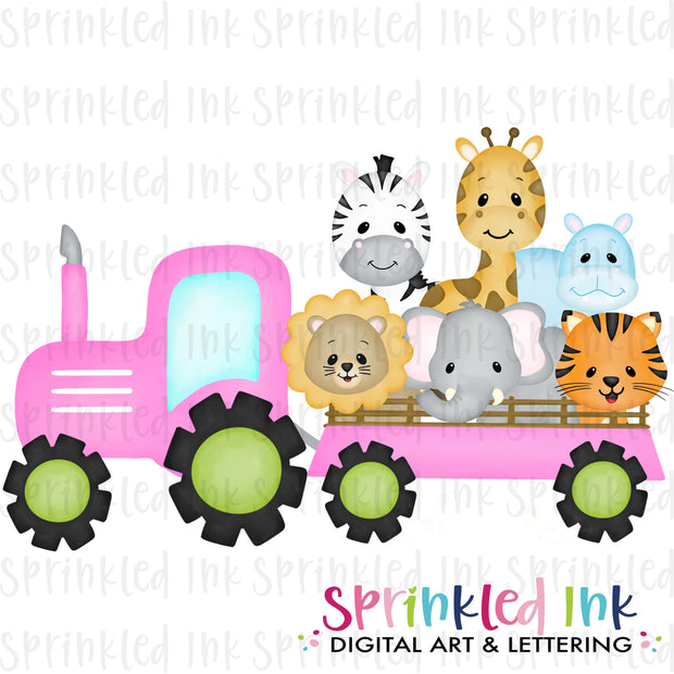 Watercolor PNG Pink Zoo Tractor Download File - Sprinkled Ink Digital Designs