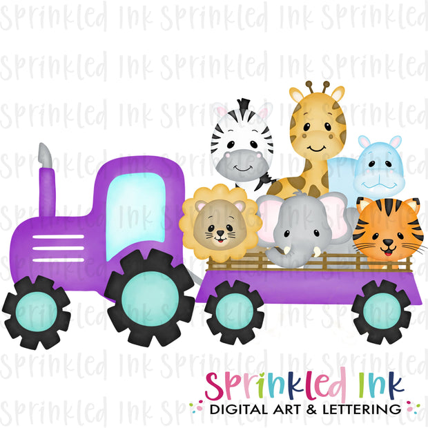 Watercolor PNG Purple Zoo Tractor with Aqua Wheels Download File - Sprinkled Ink Digital Designs