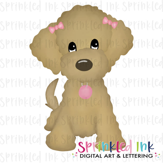 Watercolor PNG Golden Doodle Girl with Pink Bows Download File - Sprinkled Ink Digital Designs