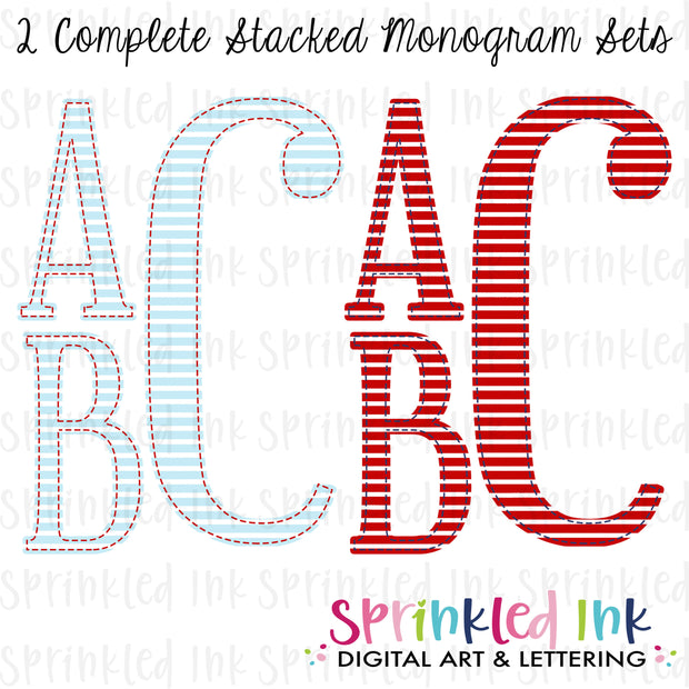 Watercolor PNG 2 Complete Faux Applique Stacked Monogram Sets in Red and Blue Stripes Digital Download File - Sprinkled Ink Digital Designs