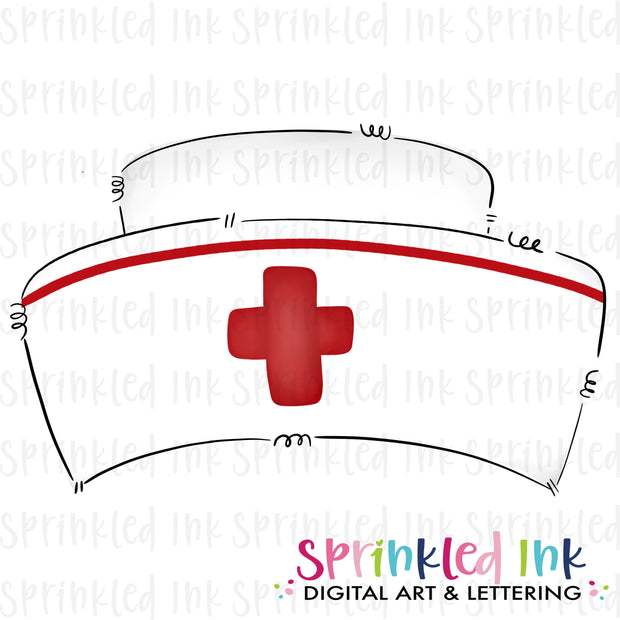 Watercolor PNG Doodle Style Nurse Hat with Red Cross Download File - Sprinkled Ink Digital Designs