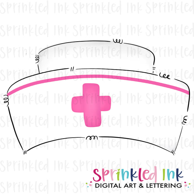Watercolor PNG Doodle Style Nurse Hat with Pink Cross Download File - Sprinkled Ink Digital Designs
