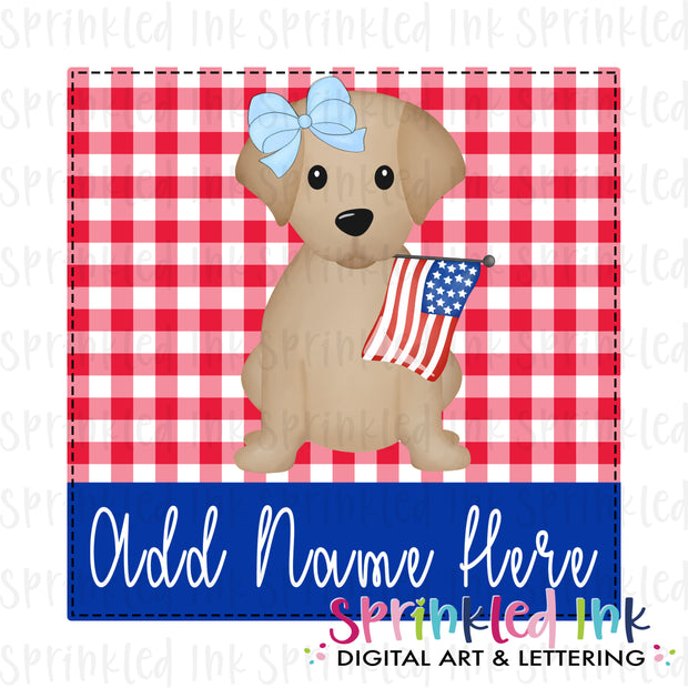 Watercolor PNG Patriotic Lab Puppy Girl with Flag on Red Gingham Background Download File - Sprinkled Ink Digital Designs