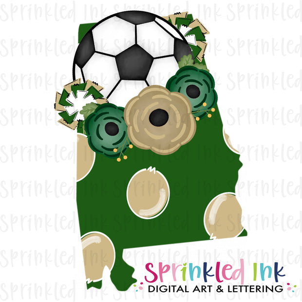 Watercolor PNG Alabama Green and Gold Floral Soccer State Download File - Sprinkled Ink Digital Designs