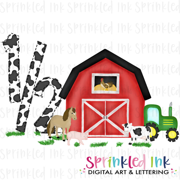 Watercolor PNG  1/2 HALF Birthday Barnyard Farm Animals with Tractor Download File - Sprinkled Ink Digital Designs