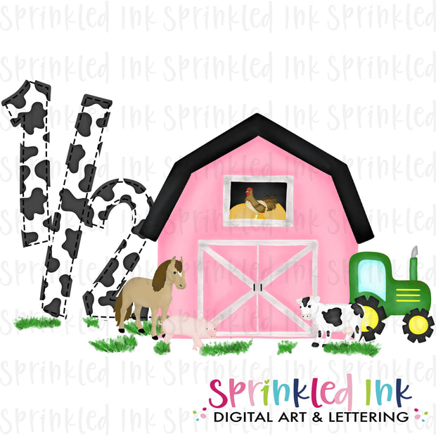 Watercolor PNG -PINK- 1/2 HALF Birthday Barnyard Farm Animals with Tractor Download File - Sprinkled Ink Digital Designs