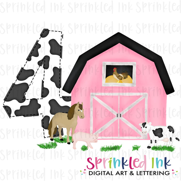 Watercolor PNG -PINK- FOUR- Birthday Barnyard Farm Download File - Sprinkled Ink Digital Designs