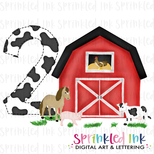Watercolor PNG -RED- TWO- Barnyard Farm Animals Birthday Download File - Sprinkled Ink Digital Designs