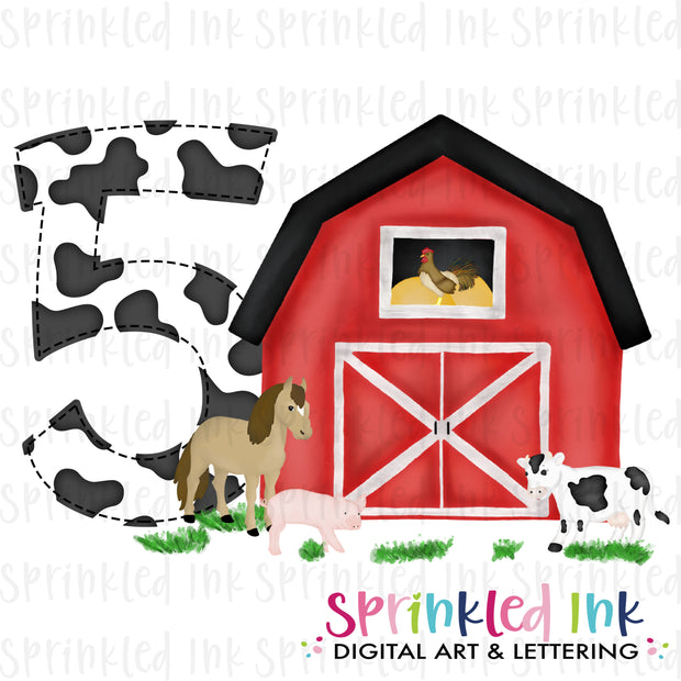 Watercolor PNG -RED- FIVE- Birthday Barnyard Farm Download File - Sprinkled Ink Digital Designs