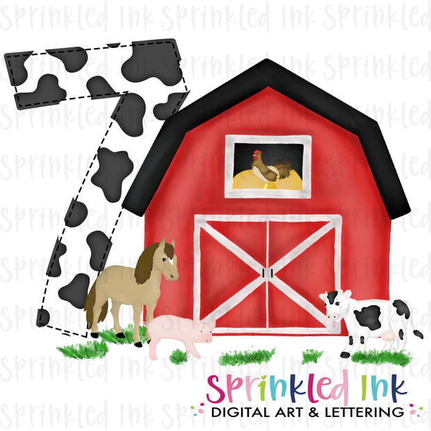 Watercolor PNG -RED- SEVEN- Birthday Barnyard Farm Download File - Sprinkled Ink Digital Designs